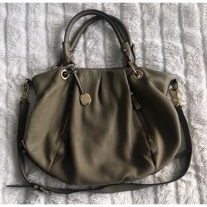 Vince Camuto Olive Grey Satchel Hobo With Strap